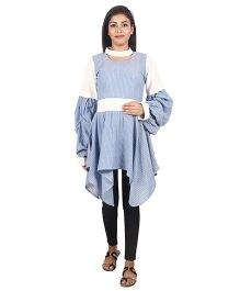 9teenAGAIN Women Plain And Striped Woven Maternity Top  - Blue & White