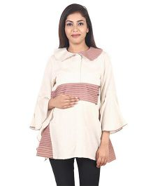 9teenAGAIN Plain Woven Maternity Top  - White & Rust
