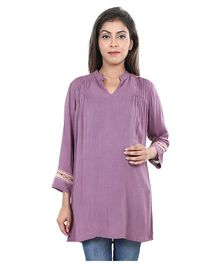 9TEENAGAIN Pleated Long Sleeves Maternity Top - Mauve