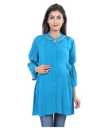 9teenAGAIN Full Sleeves Maternity Top - Blue