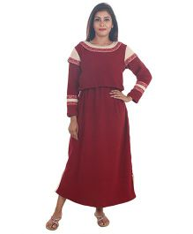 9teenAGAIN Plain And Embroidered Woven Maternity Dress  - Wine Red