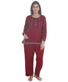 9teenAGAIN Fleece Nursing Maternity Night Suit  - Wine & Grey