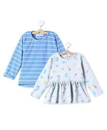 M'andy Set Of Two Tops With Stripes And Beachy Print - White & Blue