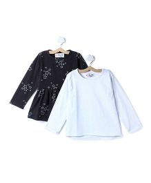 M'andy Set Of Two Tops With Star Print - Black & White