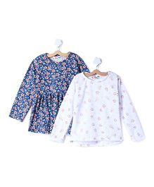 M'andy Floral Set Of Two Tops - Blue & White