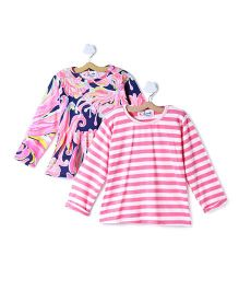 M'andy Set Of Two Tops With Stripes And Abstract Print - Pink