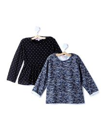 M'andy Set Of Two Tops With Polka Dots And Stripes - Black