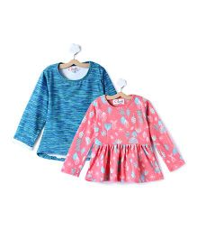 M'andy Set Of Two Tops With Stripes And Leaf Print - Pink & Blue