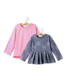 M'andy Set Of Two Tops With Stripes And Floral Rint - Grey & Peach