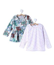 M'andy Set Of Two Tops With Floral Print - White & Blue