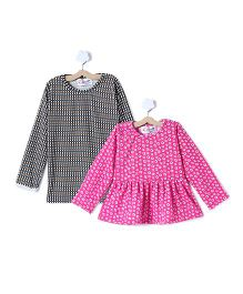 M'andy Set Of Two Tops With Floral And Checks Print - Pink