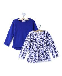 M'andy Set Of Two Tops With Floral And Solid Print - Blue