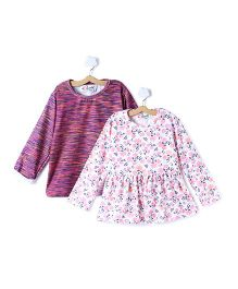 M'andy Set Of Two Tops With Flowers And Stripes - Pink & White