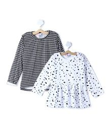 M'andy Set Of Two Tops With Dotted And Jaquard Print - Black & White