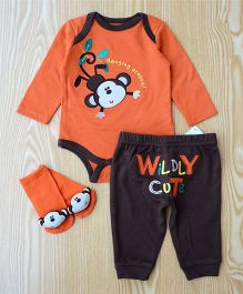 Lilpicks Couture Monkey Onesie With Pants And Socks - Orange & Brown