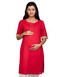 Kriti Three Fourth Sleeves Cotton Maternity Nursing Kurti - Maroon