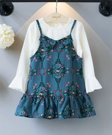 Pre Order - Wonderland 2 Piece Floral Printed Dress With Lotus Sleeves - Greyish Blue