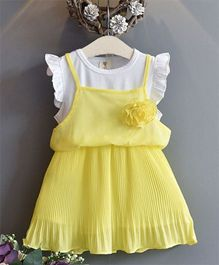Pre Order - Wonderland 2 Piece Pleated Chiffon Dress - Yellow