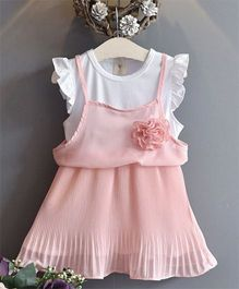 Pre Order - Wonderland 2 Piece Pleated Chiffon Dress - Pink