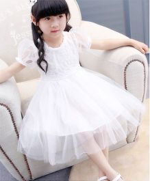 Pre Order - Wonderland Lace Dress With Thread Work On Bodice - White