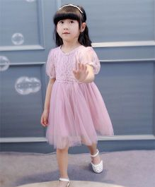 Pre Order - Wonderland Lace Dress With Thread Work On Bodice - Pink