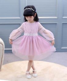 Pre Order - Wonderland Lace Full Sleeves Dress With Thread Work On Bodice - Pink