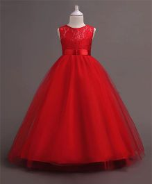 Pre Order - Wonderland Lace Bodice Dainty Dress - Red