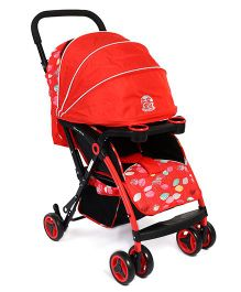 Baby Stroller With Adjustable Canopy - Red Black