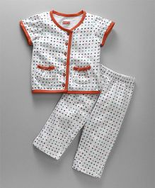 Babyhug Short Sleeves Printed Night Suit - White