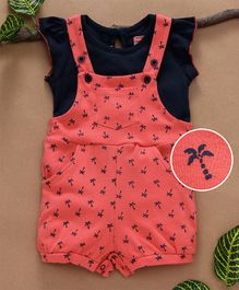 Babyhug Dungaree Romper With Top Palm Tree Print - Coral Navy Blue