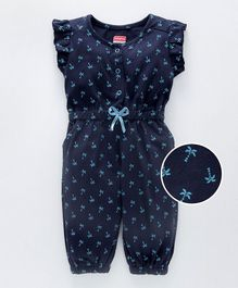 Babyhug Full Length Jumpsuit With Short Flutter Sleeves Palm Tree Print - Navy Blue