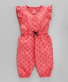 Babyhug Full Length Jumpsuit With Short Flutter Sleeves Palm Tree Print - Coral
