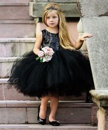Flower Girl Princess Dress With A Bow At Back - Black