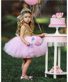 Flower Girl Princess Dress With A Bow At Back - Baby Pink