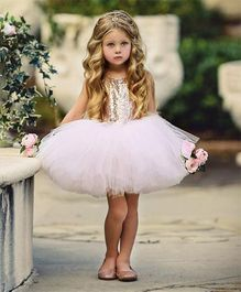 Flower Girl Princess Dress With A Bow At Back - Off White