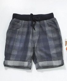 GJ Baby Check Shorts With Drawstring - Blue Grey