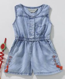 Gini & Jony Sleeveless Jumpsuit With Embroidery - Light Blue