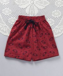 Fido Heart Print Shorts With Drawstrings - Maroon