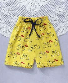 Fido Bicycle Print Shorts With Drawstrings - Yellow