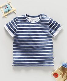 Fox Baby Half Sleeves T-Shirt Stripes Print - Blue