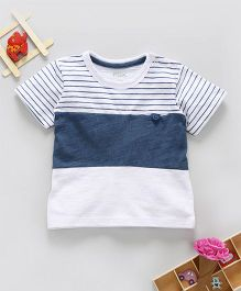 Fox Baby Half Sleeves T-Shirt Stripes Print - Blue White