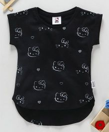 Fox Baby Half Sleeves Top Kitty Print - Black
