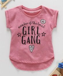 Fox Baby Half Sleeves Top Text Print - Pink