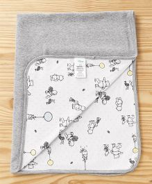 Fox Baby Cotton Blanket Winnie The Pooh Print - White & Grey