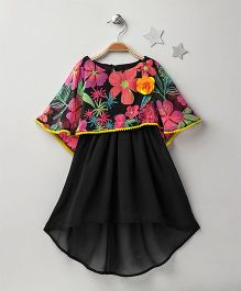 Soul Fairy High Low Dress With Attached Floral Cape - Black