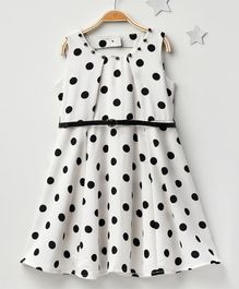 Soul Fairy Dot Print Dress With Belt - White