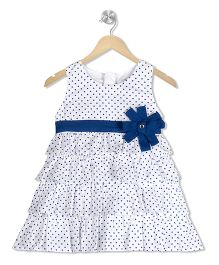 Young Birds Dot Print Ruffle Dress - Blue