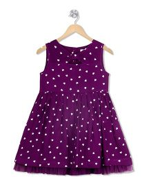 Young Birds Front Tie Band Dress - Purple