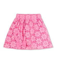 Young Birds All Over Lace Skirt - Pink