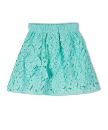 Young Birds All Over Lace Skirt - Turquoise